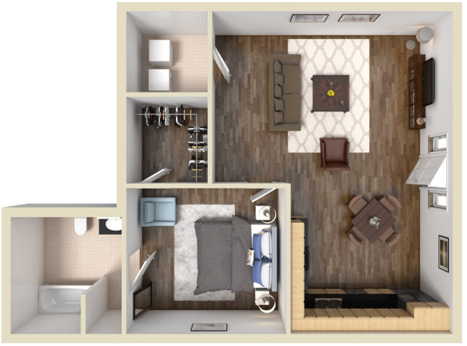H1: 1 BED 1 BATH   621 sq ft